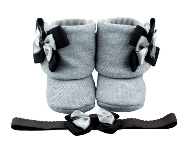 Perfect Shades Of Gray Baby Girl Booties And Headband Set