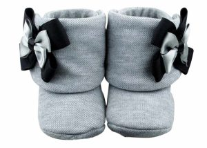 Perfect Shades Of Gray Baby Girl Booties Angle 1-Zuri Baby Couture