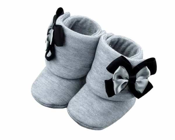 Perfect Shades Of Gray Baby Girl Booties Angle 2-Zuri Baby Couture