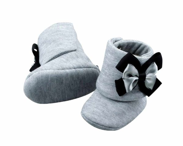 Perfect Shades Of Gray Baby Girl Booties Angle 3-Zuri Baby Couture