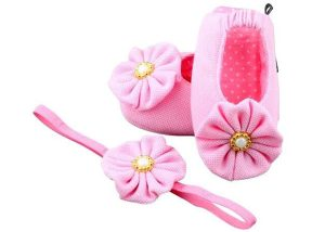 Sweet Creamy Pink Ballerina Shoes And Headband Set