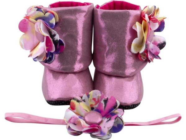 Brilliant Blush Baby Girl Booties And Headband Set