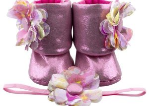 Pink Cadillac Baby Girl Booties And Headband Set