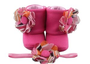 Pink Carnival Baby Girl Booties And Headband Set