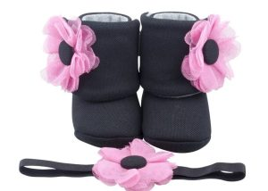 Pink Champagne Baby Girl Booties And Headband Set