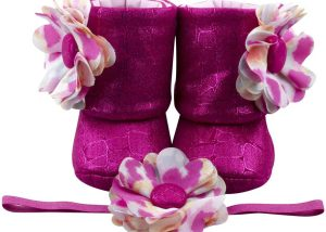 Pink Pirouette Baby Girl Booties And Headband Set