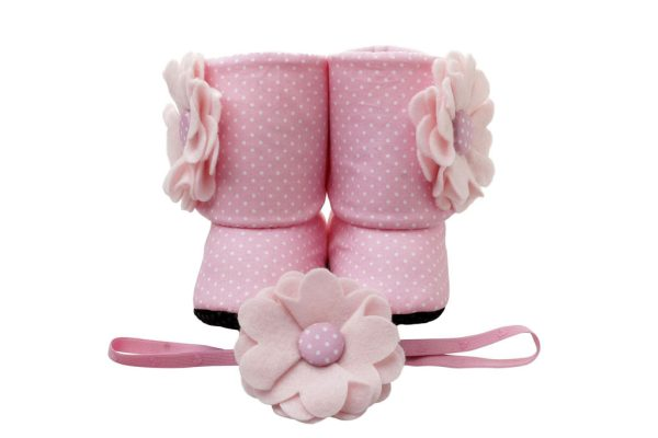 Pink For All Seasons Baby Girl Booties And Headband Set