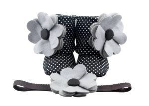 Cute Panda Baby Girl Booties And Headband Set