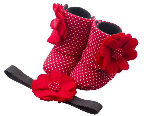 Patterned In Red Baby Girl Booties 3-9 Months