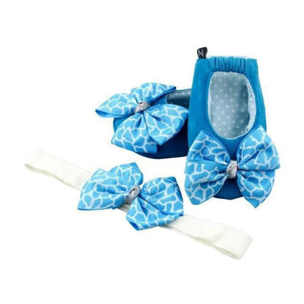 Powder Blue University Ballerina Shoes And Headband Set