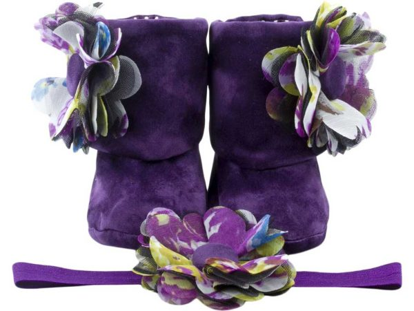 Purple Delight Baby Girl Booties And Headband Set