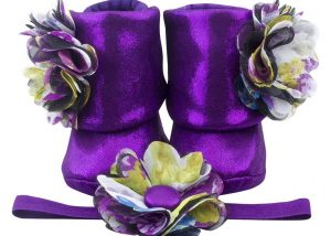 Eye Catching Amethyst Baby Girl Booties And Headband Set