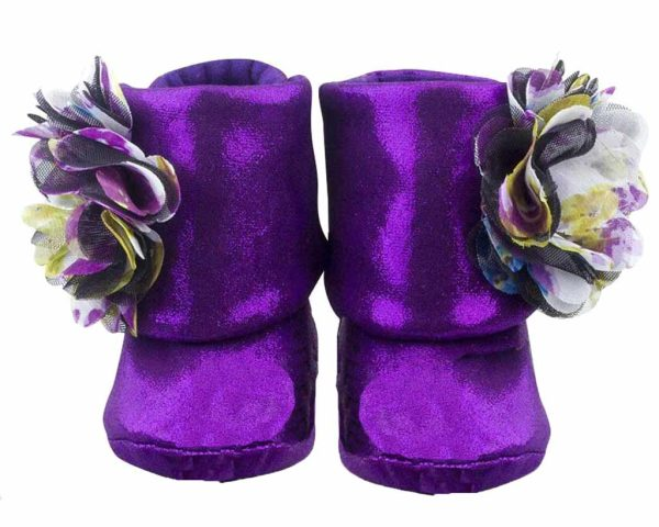 Purple Eye Catching Amethyst Baby Girl Booties Angle 1-Zuri Baby Couture