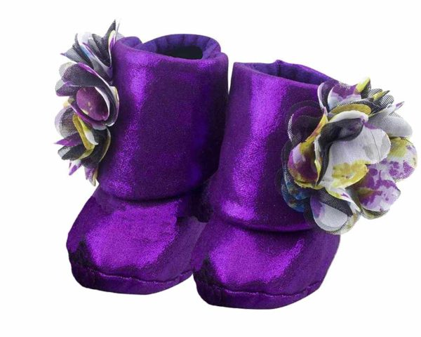 Purple Eye Catching Amethyst Baby Girl Booties Angle 2-Zuri Baby Couture
