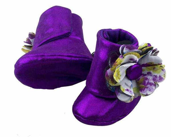 Purple Eye Catching Amethyst Baby Girl Booties Angle 3-Zuri Baby Couture