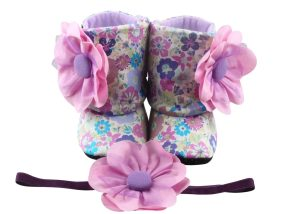 Luscious Light Purple Baby Girl Booties And Headband Set