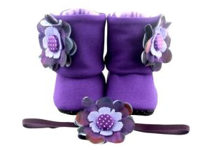 Show Us Your Tricks! Baby Girl Booties And Headband Set