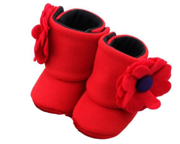 Red Blush And Bloom Baby Girl Booties B-Zuri Baby Couture