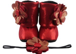 Coca Cola Red Baby Girl Booties And Headband Set