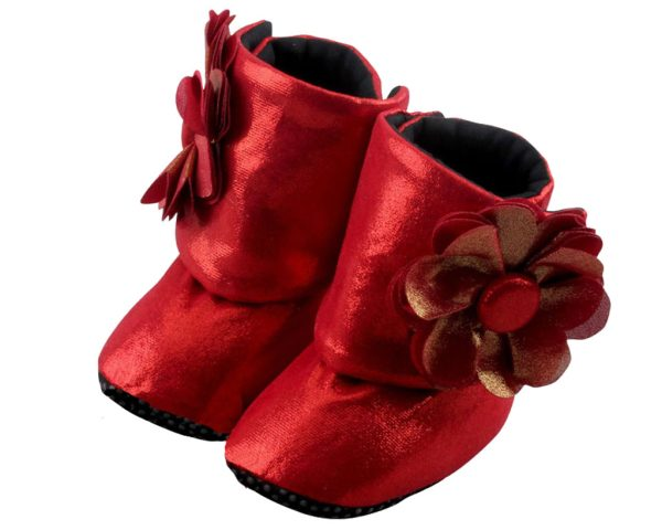 Red Coca Cola Baby Girl Booties Only Angle 2-Zuri Baby Couture
