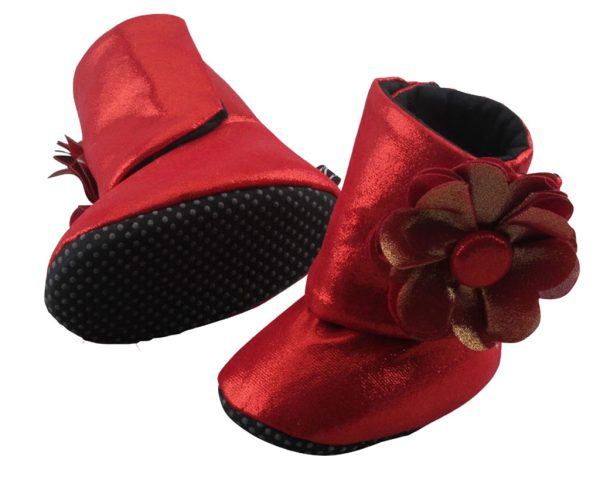 Red Coca Cola Baby Girl Booties Only Angle 3-Zuri Baby Couture
