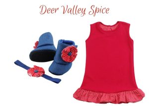 DEER VALLEY SPICE BABY GIRL DRESS SET 9-18 MONTHS