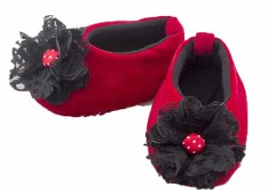 Red Lipstick Drama Dolly Shoes-Zuri Baby Couture