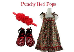 Kids Summer Dress Set For 2-3 Yrs Old: Punch Red Pops