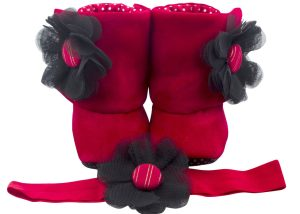Rosie Baby Girl Booties And Headband Set