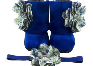 Royal Blue Belle Baby Girl Booties And Headband Set