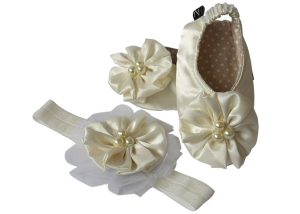 Shimmery White Satin Ballerina Shoes and Headband Set - Zuri Baby Couture PH