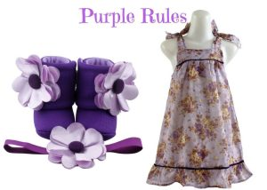 PURPLE RULES BABY GIRL DRESS SET 2-3 YEARS OLD