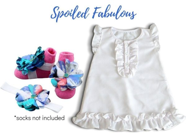 White Baby Girl Dress with Barefoot Sandal and Headband for Babies 3-18 months