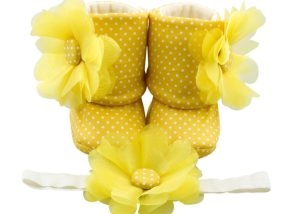 Pineapple Lily Baby Girl Booties And Headband Set