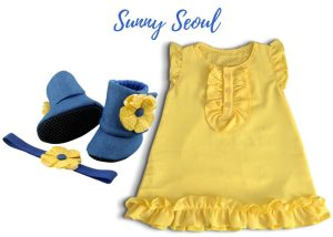 Crepe Chiffon Baby Girl Dress With Bootie & Headband