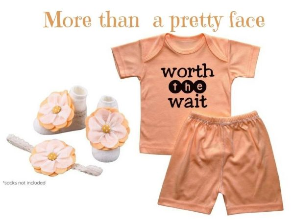 Baby Tee with Matching Shorts, Barefoot Sandals and Headband Set