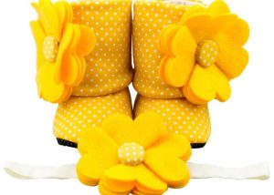 Walking on Sunshine Baby Girl Booties and Headband Set