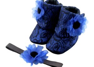 Western Blue Baby Girl Booties