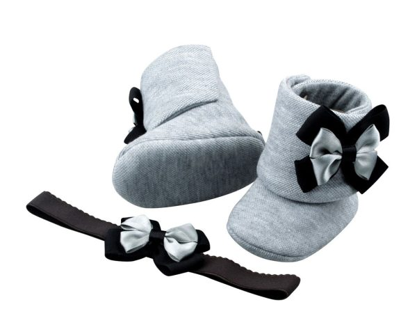 Perfect Shades of Gray Baby Girl Booties 3-24 Months