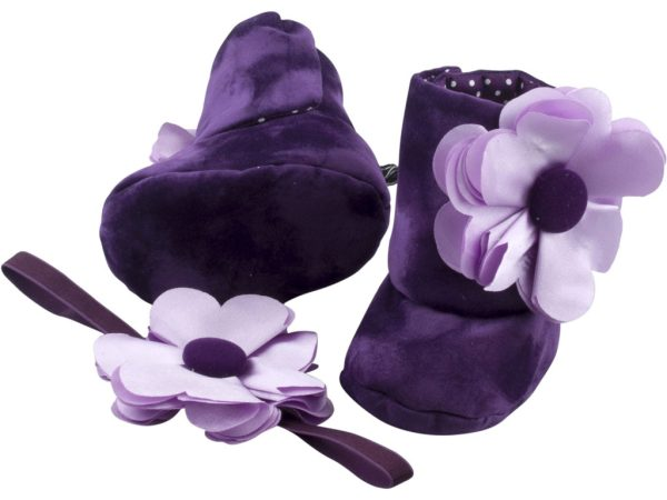 Purple Orchid Baby Girl Booties and Headband Set