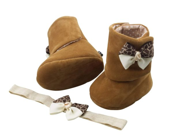Sunkissed Brown Baby Girl Booties and Headband Set