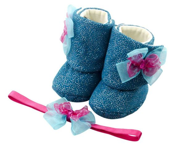 Barbie's Angel Baby Girl Booties And Headband Set