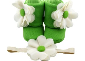 Zest for Life Baby Girl Booties and Headband Set