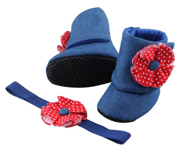 Denim and Red - Always in Style, Always Perfect Baby Girl Booties and Headband Set