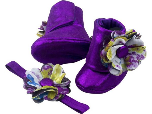 Eye Catching Amethyst Baby Girl Booties 3-24 Months