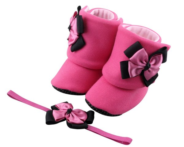 "I Always Say, ""the Pinker, the Better."" Baby Girl Booties and Headband Set"