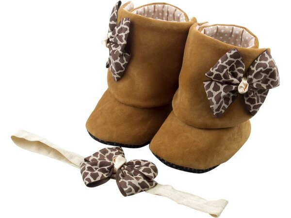 Wild Life Baby Girl Booties and Headband Set