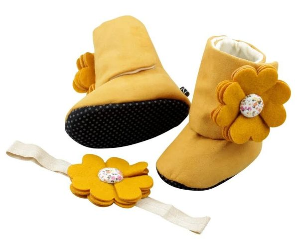 Mustard Delight Baby Girl Booties and Headband Set