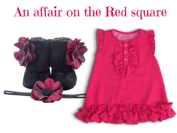 Crepe Chiffon Baby Girl Dress With Bootie & Headband (9-18 Months)