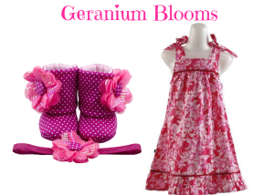 Geranium Blooms Baby Girl Dress Set 9-18 Months